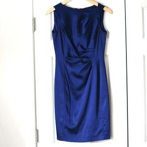 Tahari navy royal blue satin sleeveless dress